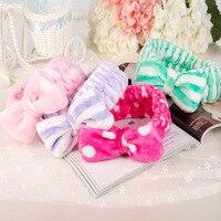 Women Coral Fleece Mask Cosmetic Towel Hair Bands Big Bow Covering Microfiber Hair Bands Headband Wholesale Headwear