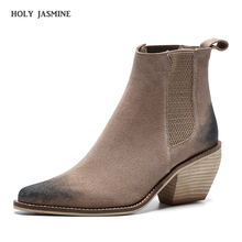 Ankle Boots for Women Genuine Leather Top Quality Elastic Band Autumn Winter Fashion Lady Cow Suede Shoes Handmade Women Boots цены онлайн