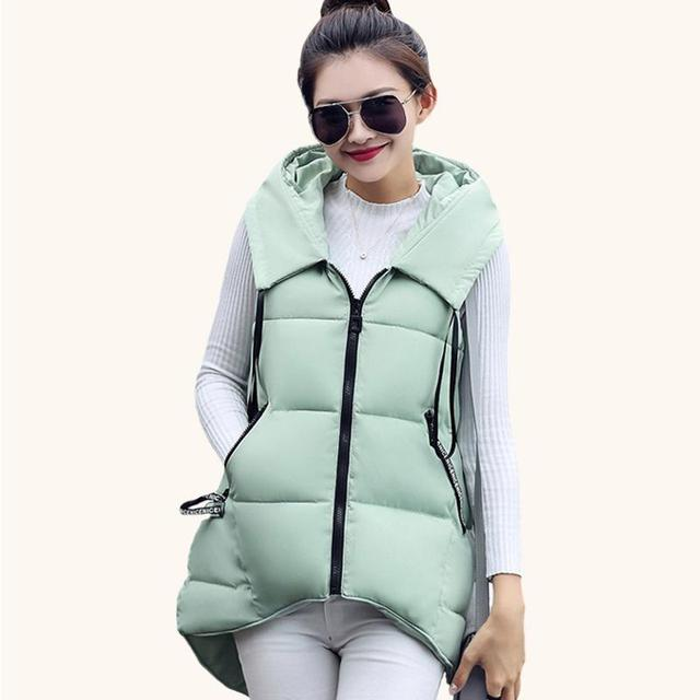 Short Front Long Back Autumn Winter Women Vest Waistcoat 2016 New Down Cotton Padded Hooded Warm Sleeveless Jacket Vest Female