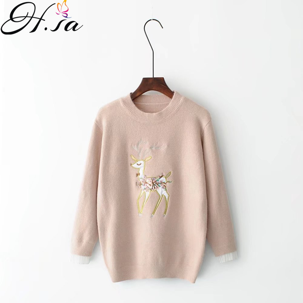 H.SA 2017 Women Winter Christmas Sweater Deers Embroidery High Qulaity Sweater and Pullovers Patterns Knitted Tops Casual wear