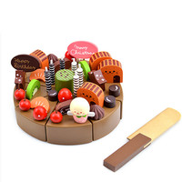 Kids kitchen Toys Chocolate Birthday Cake Children Wooden Cake food Toys Wood Puddy Pretend Toys For Chilren Birthday Gifts