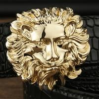 מתכות באיכות גבוהה אבזם סגסוגת האריה אופנה גברים חגורת מותן רצועת עור אמיתי מעצב Cowskin יוקרה רחבה ceinture homme