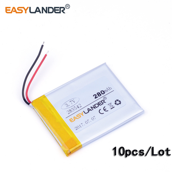 10pcs/Lot 283542 3.7V 280mAh Rechargeable li Polymer  Battery For mp4 GPS PDA speaker DVR small toys mobile power E-Book