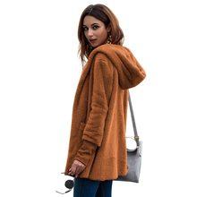 04b41fd761fb75 Moda długi sweter kobiety ciepłe futro płaszcz jesień zima kobiety sweter  kieszeń sweter kobiet Streetwear płaszcz