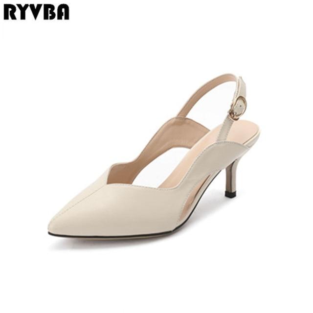 1a1ef758b RYVBA Women Genuine Leather Pointed Toe Sandals Woman Thin High Heels  Summer Shoes Sandalias Zapatos De