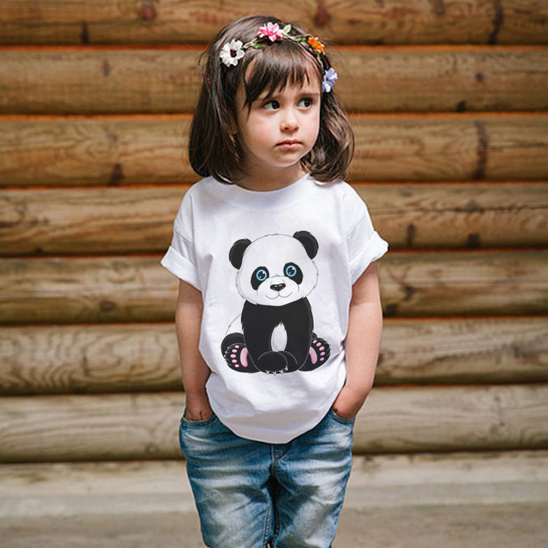 Girl Shirts Short-Sleeve Panda Animal-Print Cartoon Children New Cute O-Neck Boy Comfortable