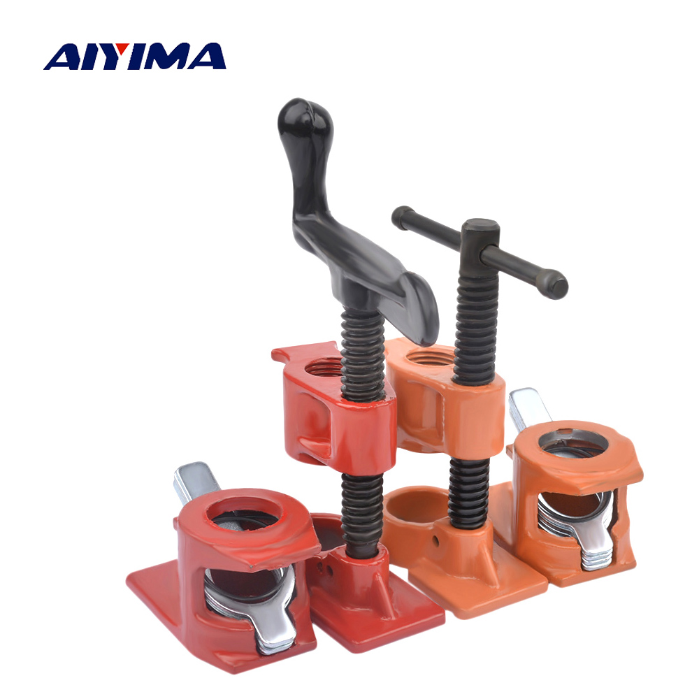 1/2 Inch Pipe Clamp Clamps For Woodworking Cast Iron Heavy Wood Gluing Pipe Wood Fixture Rapid Clamping Clip Set Carpenter Tool