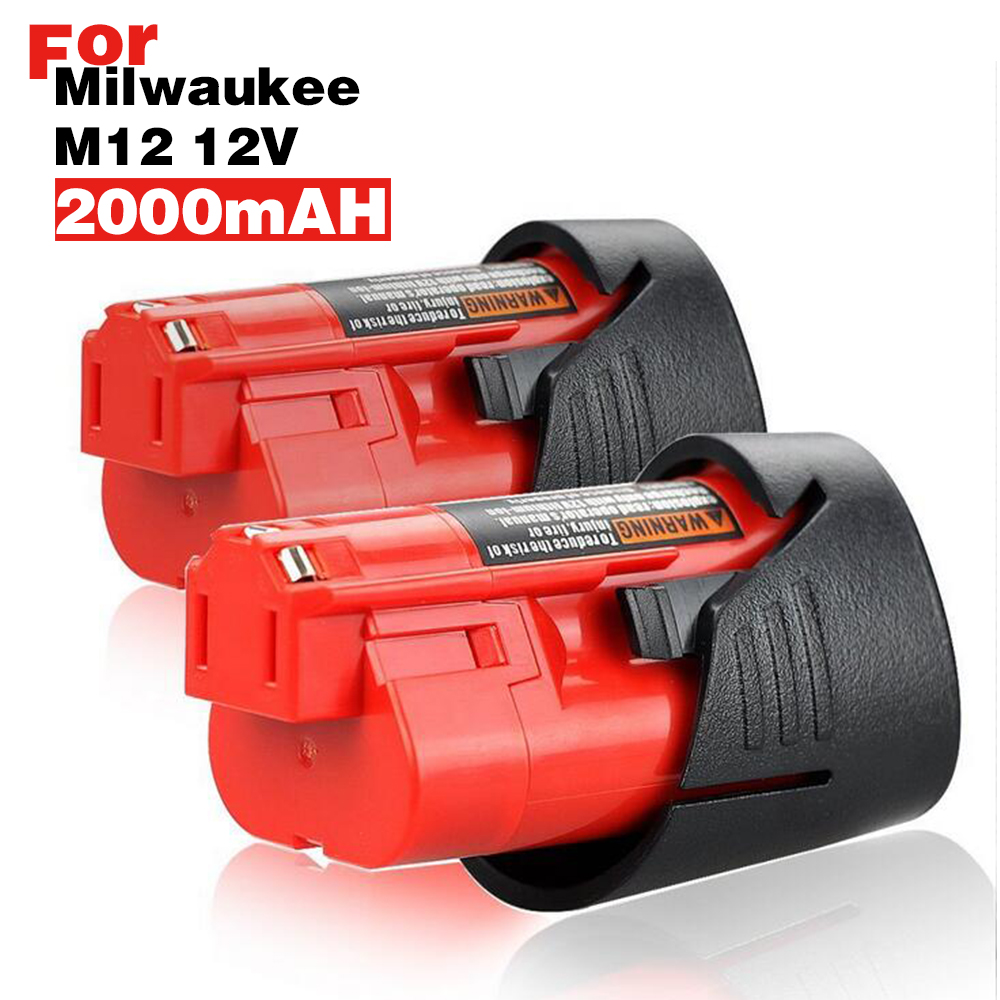 2PCS 2.0Ah 2000mAh 12v 12 Vlot M12 Lithium-ion Power Tools Battery for Milwaukee 48-11-2401 48-11-2402 48-11-244M 12 XC 3pcs 12v lithium ion 1500mah power tool rechargeable battery with charger replacement for milwaukee m12 48 11 2401 48 11 2402 page 5