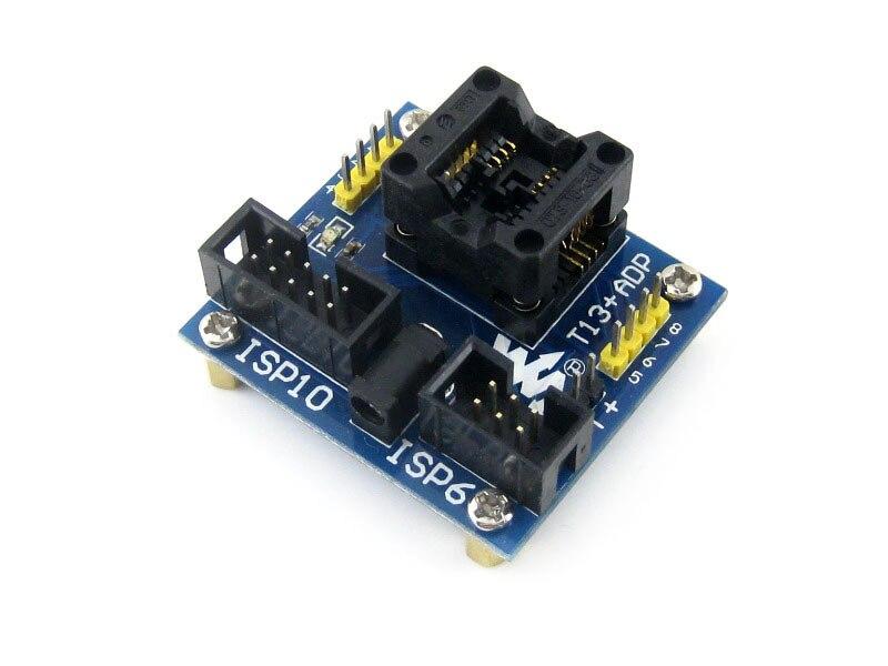 module T13+ ADP ATtiny13 ATtiny12 ATtiny15 ATtiny25 SOIC8 (150 mil) AVR Programming Adapter Test Socket m48 adp atmega48 atmega88 atmega168 tqfp32 avr programming adapter test socket