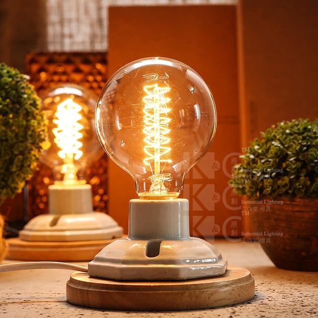 TRANSCTEGO Vintage Ceramic Lamp Wood Edison Desk Lamp Decoration Retro  Bedside Light For Bedroom Table Light Lamparas De Mesa