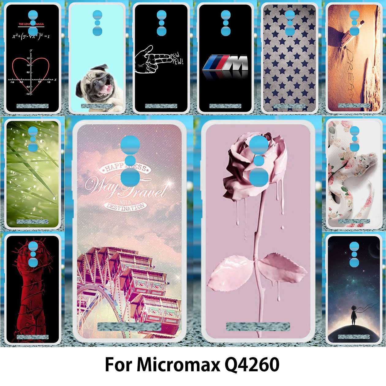 TAOYUNXI For micromax q4260 Case Silicon Soft TPU Cover Micromax Juice Q4260 Cases Painting Ferris wheel Rose Cool Cat Patterned