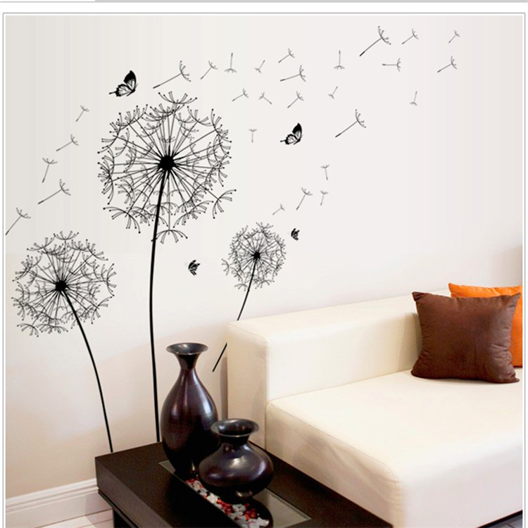 3d dandelion flowers wall sticker tree stickers wallstickers for kids rooms bathroom decals. Black Bedroom Furniture Sets. Home Design Ideas