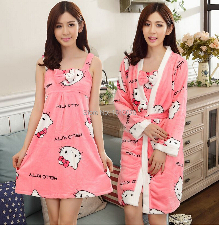 2017 New Hello Kitty Robe Autumn Winter C Fleece Thermal Thickening Bathrobe Fashion Lounge Y Sleepwear Free Shipping In Robes From Women S Clothing