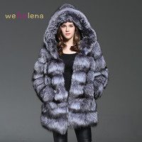 Welfurlena 85CM Real Silver Fur Fox Coat Winter Warm Striped Fox Fur Jacket Long Luxury Women Natural Fox Fur Overcoat Hooded