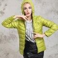 Alta Calidad de la Marca de las mujeres abrigos de invierno moda abajo y abrigos esquimales ligero y cálido chaquetas con capucha de down 9 colores más el tamaño S-3XL
