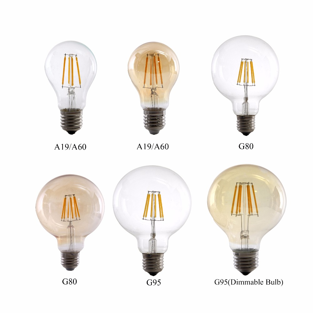A19 A60 G80 G95 Antique Retro Vintage Glass LED Bulb Light 2W 4W 6W 8W LED Filament Bulb Dimmable Lamp 220V E27 lightinbox good glass bulb lamp candle light lamp e27 e14 antique led edison bulb 220v retro led filament light vintage led