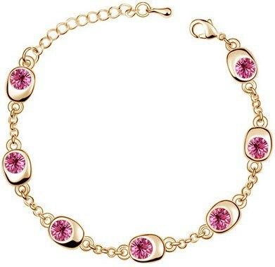 Подарок на день рождения, высокое качество, 7 бусин, Звездные глаза, браслеты с кристаллами, модные ювелирные изделия, 12 цветов, милые Подвески для женщин - Окраска металла: gold rose