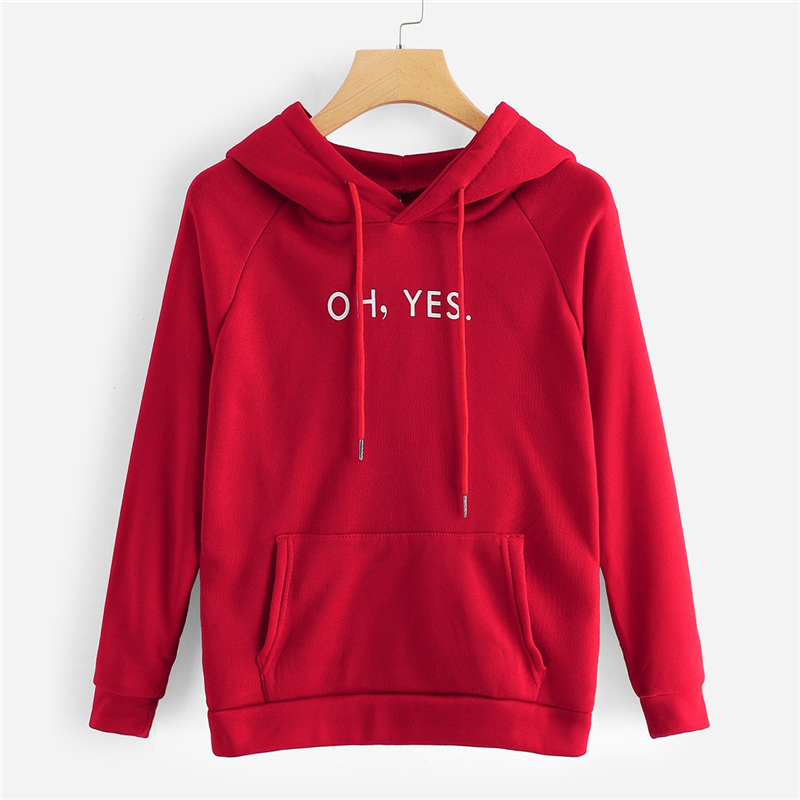 Oh Yes Letter Print Hoodie For Women