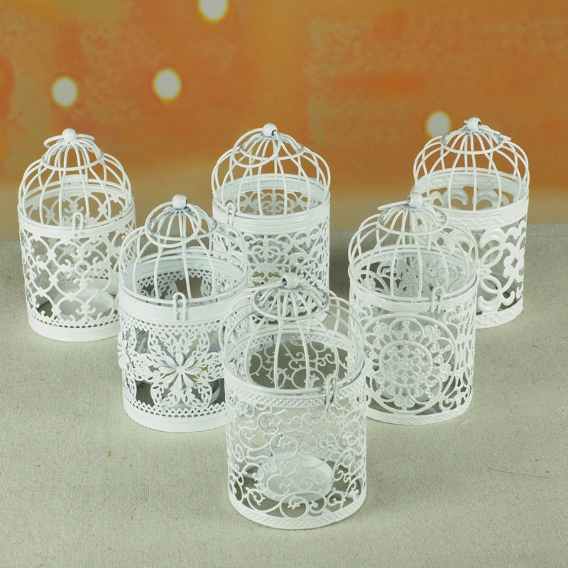 Hollow Holder Candlestick Tealight Hanging Lantern Bird Cage Vintage Wrought New Candle Vintage Suspension Lantern image