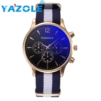 YAZOLE Watch Men Luxury Quartz Sport Military Stainless Steel Dial Canvas Band Wrist Watch Men Watch