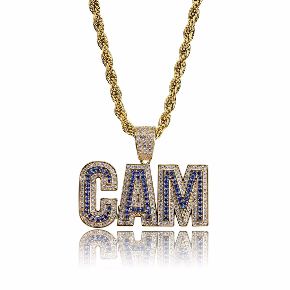 New Fashion Men Women CAM Pendants Necklace Chains Gold Silver Plated Cubic Hip Hop Necklace Jewelry For Gift dropshipping