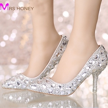 Perfect Bride Crystal Wedding Shoes Pointed Toe New Design Women Pumps Silver Rhinestone New Design Party Prom Heels Big Size