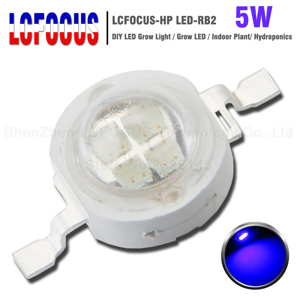 Hydroponics 1W 3W 5W Grow LED Royal Blue 440NM 470NM COB SMD 45MIL DIY 50W 100W Grow Light For Indoor Plant Leaf Root Growing