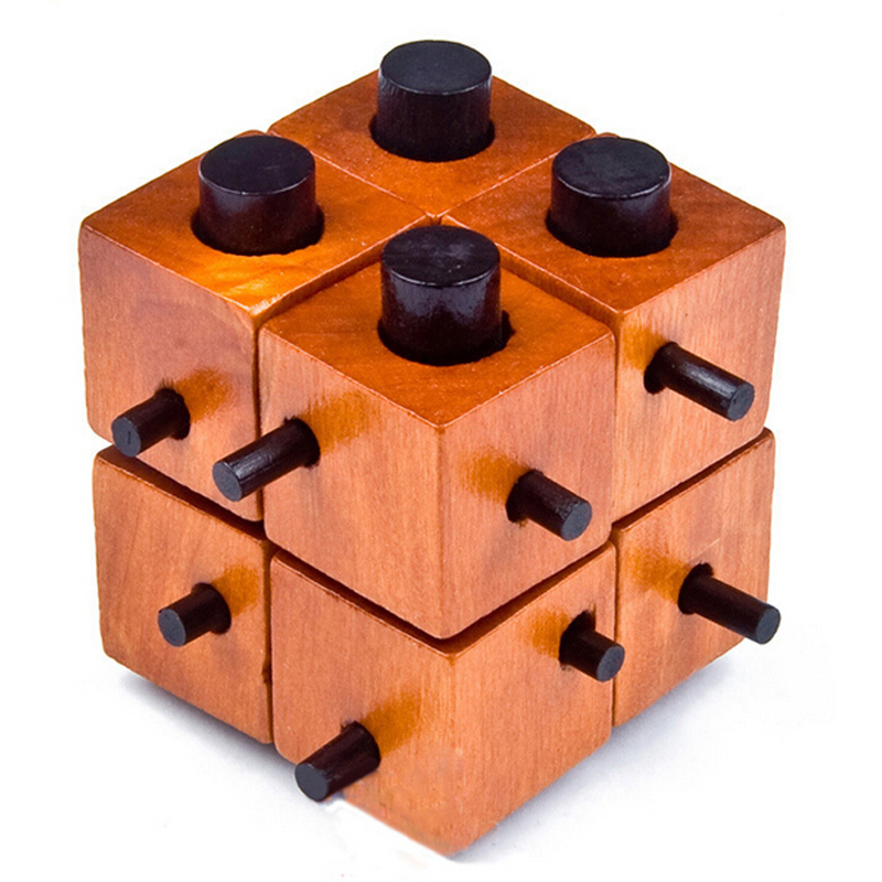 Puzzle Game Montessori Educational Magic Box Of 8 parts For Adult And Children Wooden Toys Of Kong Ming Lock(China)