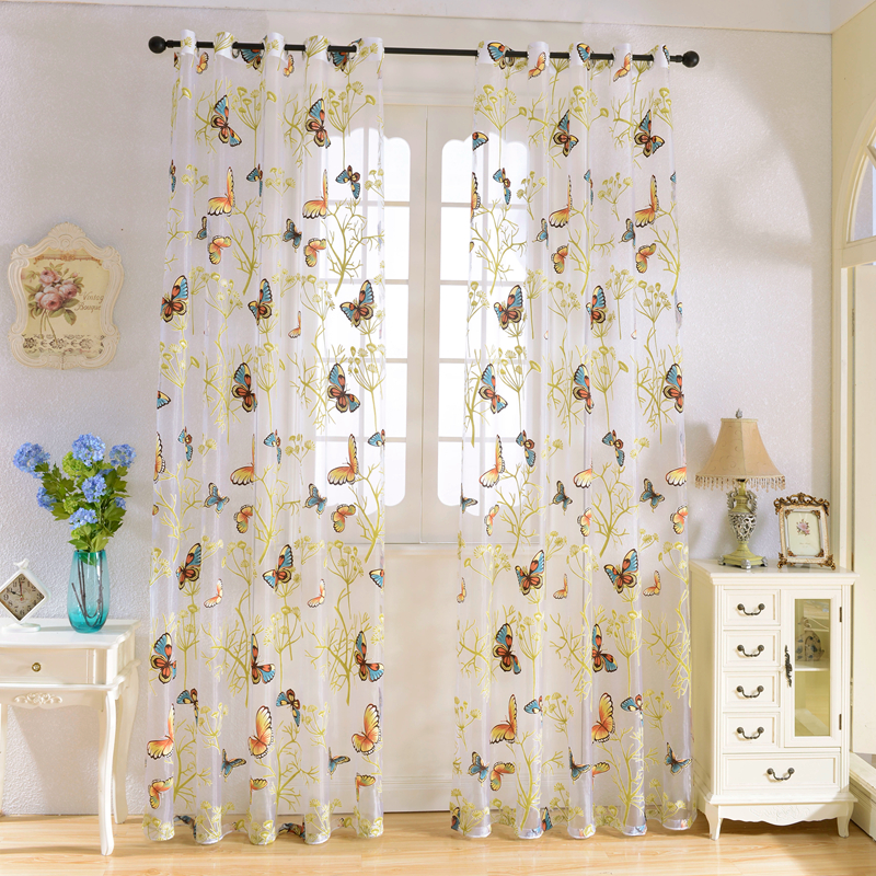 Senisaihon Europe Colorful Butterfly Curtains Window Decoration Semi-shading Tulle Curtain Textile Voile Curtain for Living Room