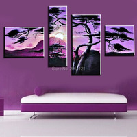 100% Hand made bright purple landscape PAINTING DECOR Abstract Wall Decor moutain sun tree Oil Painting on canvas 5pcs