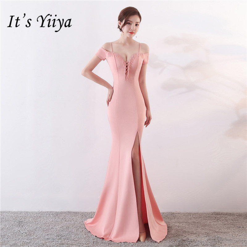 It's Yiiya Black Pink Evening Dress Floor-length Short Sleeve Elegant Boat Neck Long Porm Dresses Fashion Formal Party Gown C068