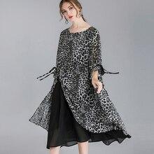 Leopard Chiffon Dress Woman Extra Large 2019 Spring Summer Women Elegant Party Bohemian Plus Size Vintage Fashion Dresses Femme