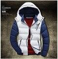 Hombres 2016 nuevo invierno encapuchado abajo cubre la chaqueta gruesa de algodón acolchado Hombres