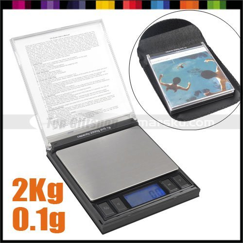 Foldable CD Shape Mini Portable Digital LCD Jewelry Weight Weighing Gram Balance Scale 2000g x 0.01g 2Kg #1187