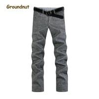 Groundnut Brand Plus Size 35 46 New Autumn Winter Thick Warm Straight Leg Linen Pants Men