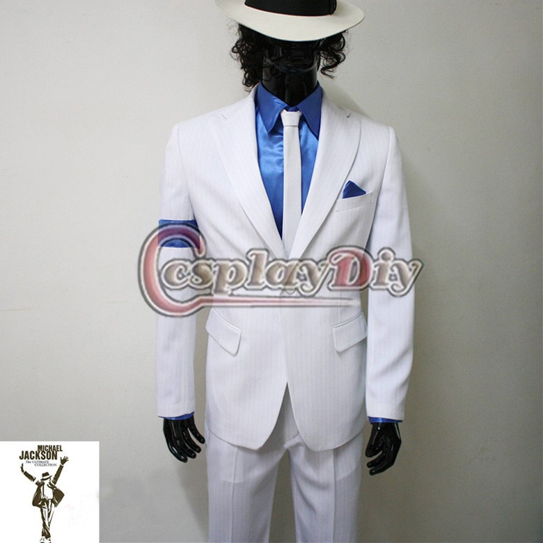 Michael Jackson Smooth Criminal White Suit Uniform Men/'s Cosplay Concert Costume