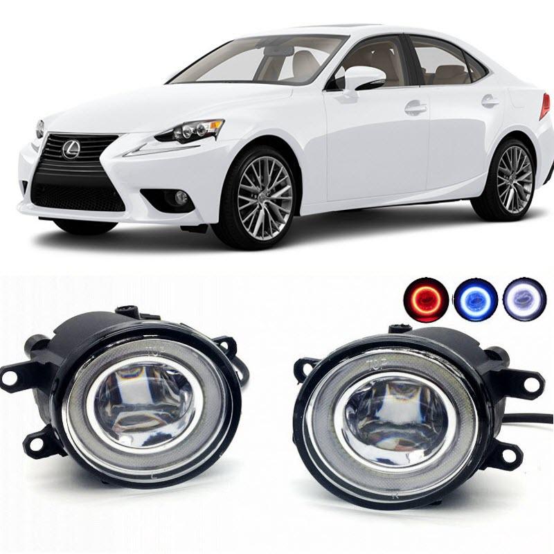 2 в 1 LED Ангел глаза DRL 3 цвета дневные ходовые огни линии реза линзы Противотуманные фары лампы для Lexus является is250 по is350 для 2008-2016