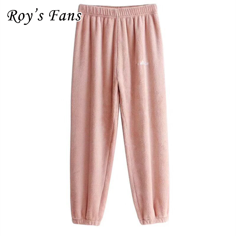 Roy's Fans Women Autumn Sleep Bottoms Solid Color Warm Winter Pyjama Trousers Female Casual Household Pants