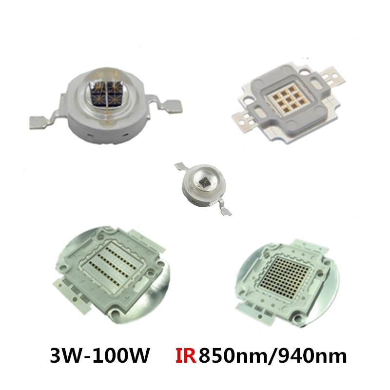 High Power LED Chip 850nm 940nm IR Infrared 3W 5W 10W 20W 50W 100W Emitter Light Bead COB 850 940 Nm Night Vision CCTV Camera