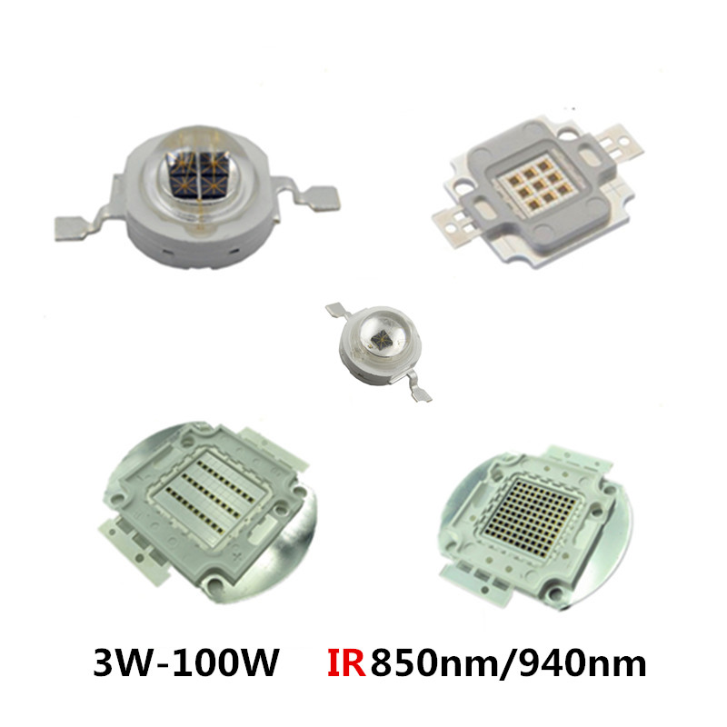 High Power LED Chip 850nm 940nm IR Infrared 3W 5W 10W 20W 50W 100W Emitter Light Bead COB 850 940 nm Night Vision CCTV Camera ...