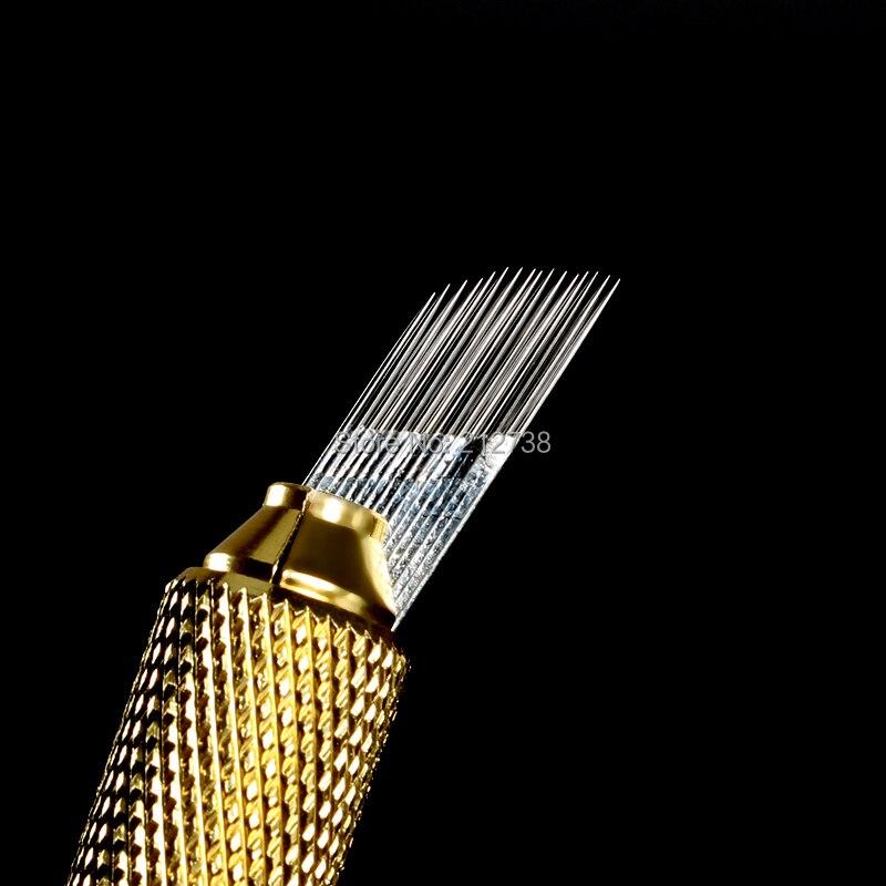 1 상자 500 pcs 3 행 라인 16pin 바늘 영구 눈썹 메이크업 바늘 블레이드 microblading 펜 수동 자 수에 대 한-에서타투 바늘부터 미용 & 건강 의  그룹 2