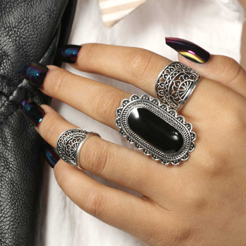 Docona Vintage เงินสี Rhinestone สีดำขนาดใหญ่แหวน Tribal หินดอกไม้ Hollow Knuckle Midi แหวนเครื่องประดับ Boho 4174