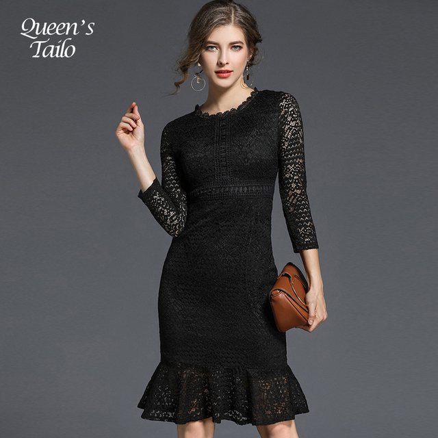 Knee length black lace dress uk mermaid