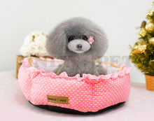 New dog s cats fashion dot lace house supplies doggy warm soft bed puppy kennels products