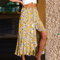 Foral Print Irregular Long Skirt Women 2019 Ruffles Summer Elegant Skirts Bohemian Tassel Split Beach Maxi Skirt Female