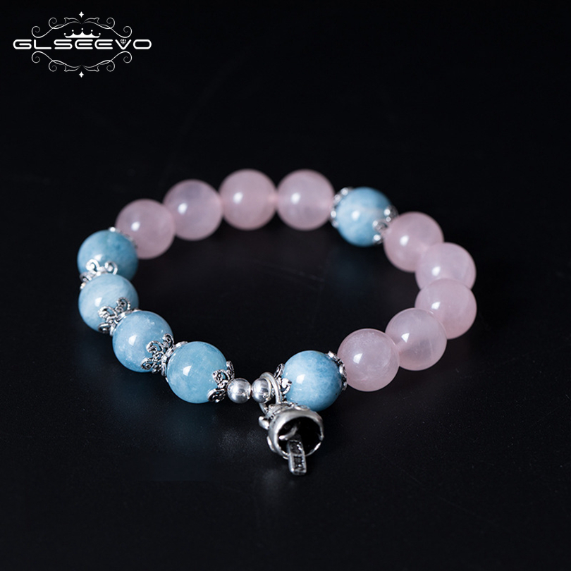 GLSEEVO Original 925 Sterling Silver Natural Stone Pink Crystal Aquamarine Adjustable Womens Bracelets Luxury Jewellery GB0081GLSEEVO Original 925 Sterling Silver Natural Stone Pink Crystal Aquamarine Adjustable Womens Bracelets Luxury Jewellery GB0081