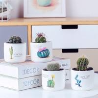 Set of 4pcs Flowerpots Green Leaf Cactus Design Succulent Planter with Bamboo Stand Animal Fox Zebra Decorative Planter
