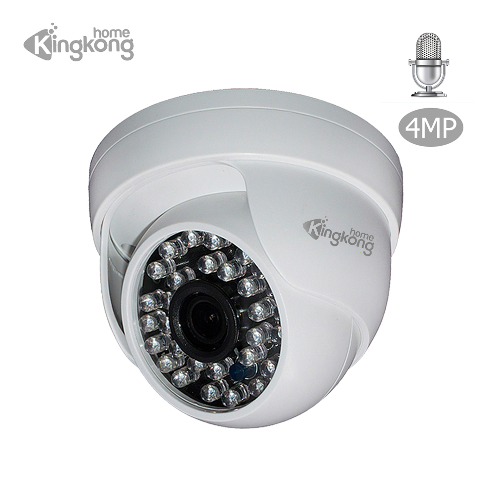 Kingkonghome 4MP/1080P Built-in Mic Audio IP Camera Network Day/Night Vision H265 CCTV Security Indoor Dome Cameras 30 IR LED IP savvypixel 4mp network security camera indoor outdoor 1080p hd wdr network vandal proof ir mini dome camera day night