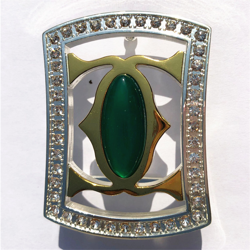 Pure Copper Vintage Antique Belt Buckle Diamond & Jade Western Cowboy Mens Fashion Fine Accessory