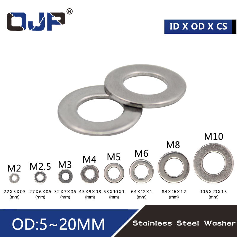 100pcs M2 M2.5 M3 M4 M5 M6 M8 M10 DIN9021 GB96 304/A2-70 Stainless Steel Flat Machine Washer Plain Washer Flat Gasket Rings